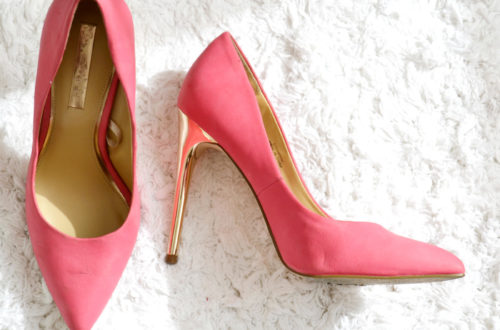 miss selfridge pink and gold shoes