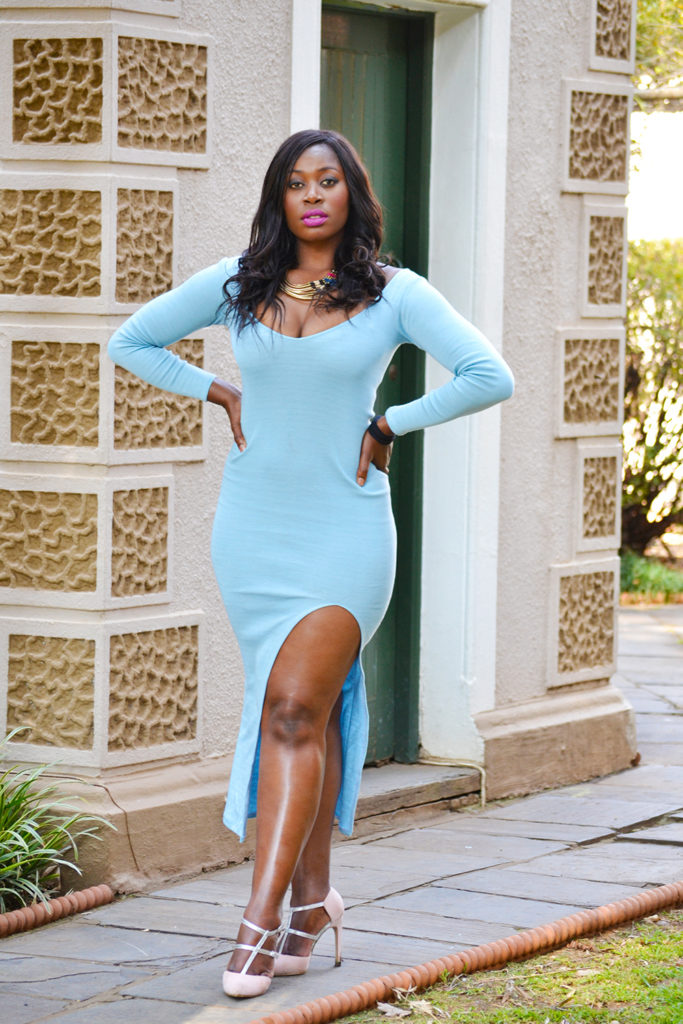 light blue jersey dress by blunt moya
