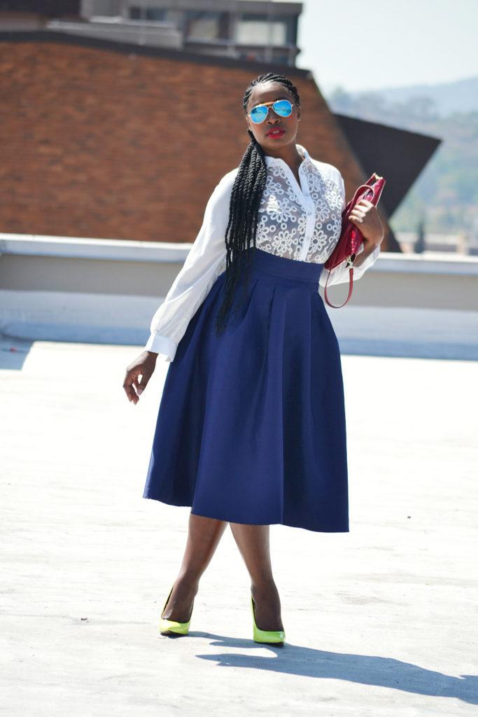 vintage blue skirt style fashion blog
