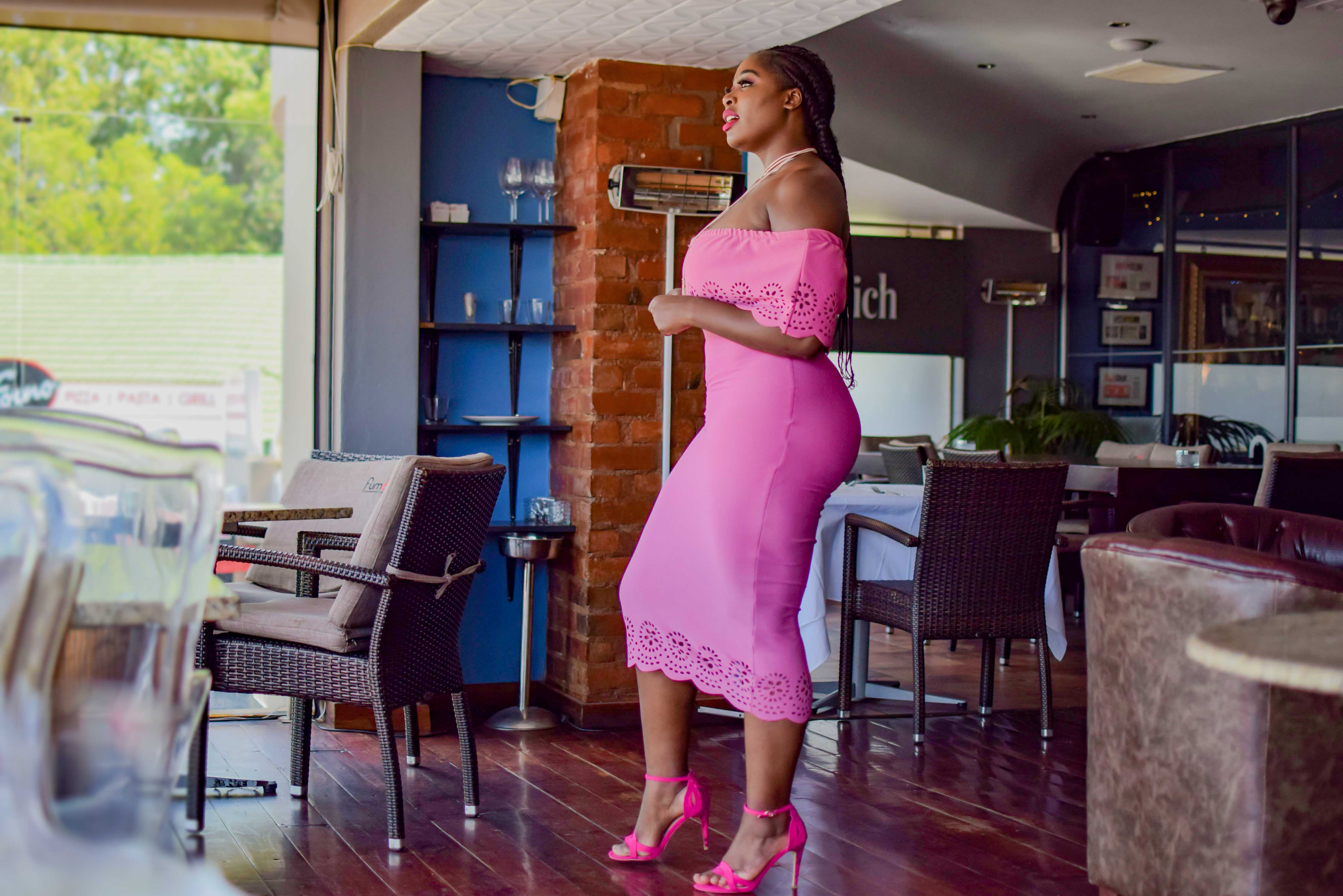 Styling the pink dress, pink shoes