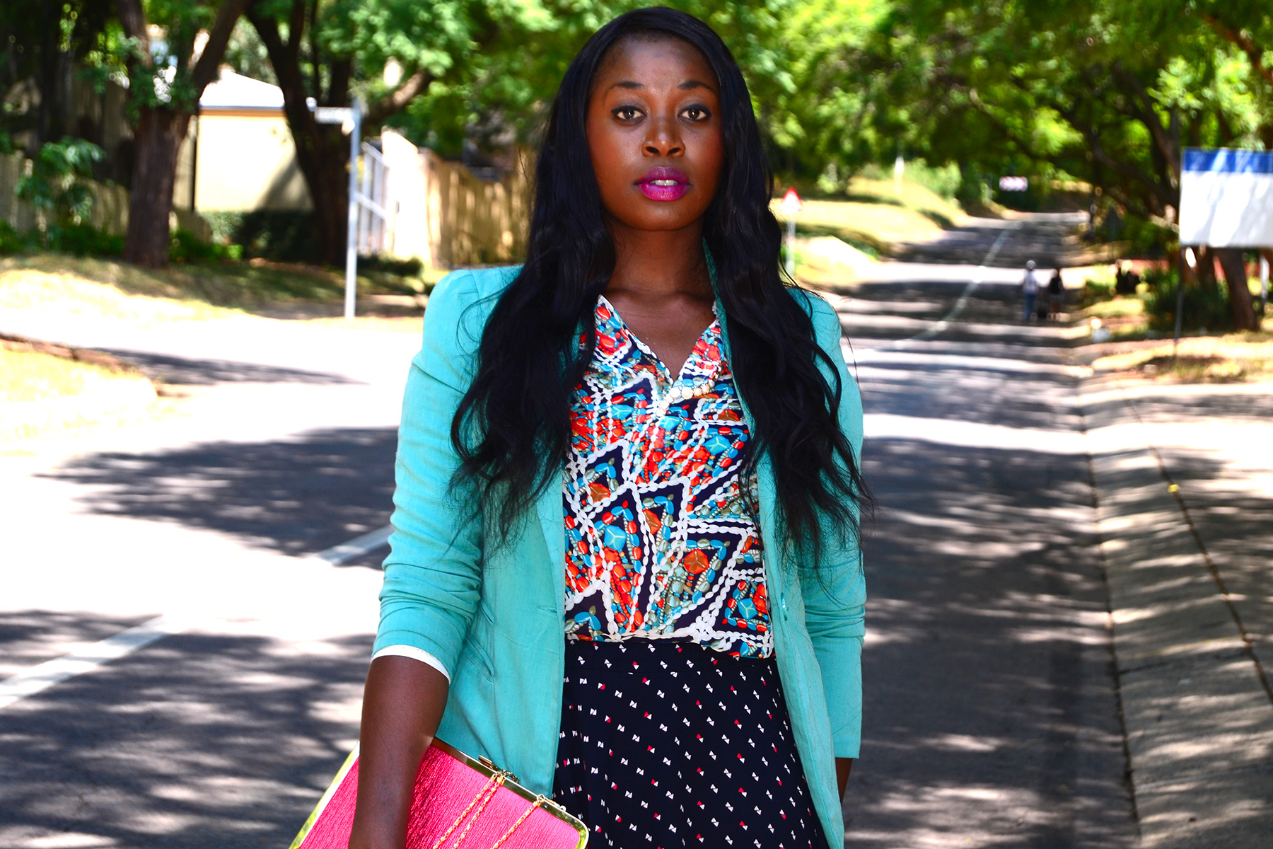 PRINT ON PRINT, SOLANGE KNOWELS STYLE, GREEN JACKET, GREEN BLAZER