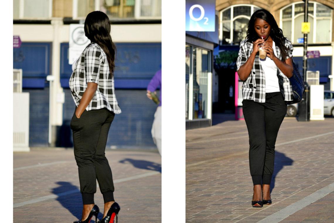black pants and checkered plaid jacket loughborough england fashion shoot