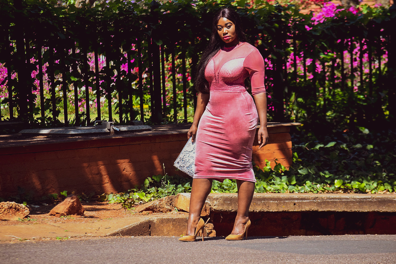 pink VELVET dress blog