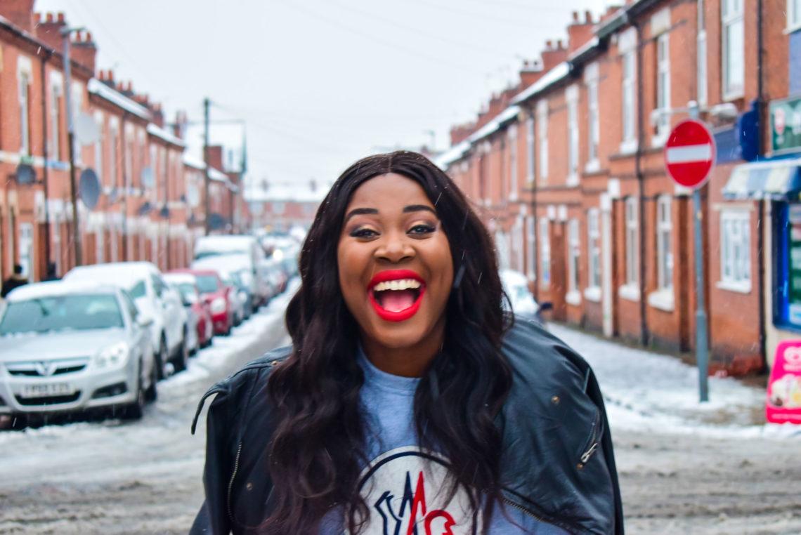 travel blog united kingdom, snow, african fashion blogger