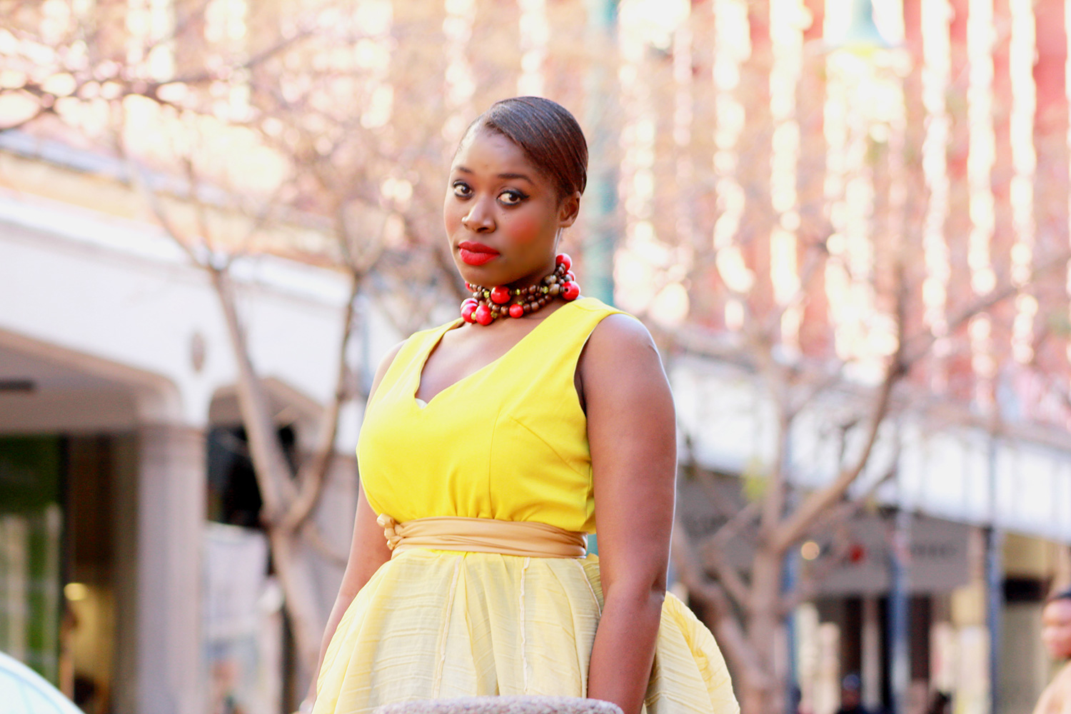 yellow dress, pretoria cbd, athalia pilane