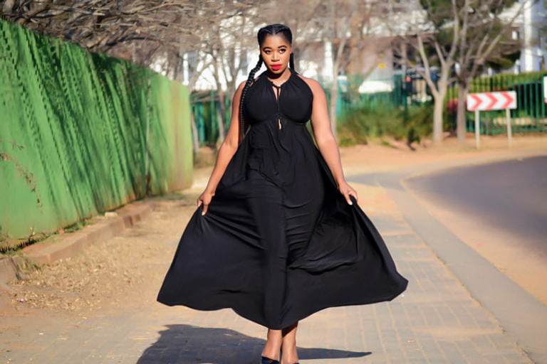 ERRE Myri dress , power dressig, pretoria fashion designers