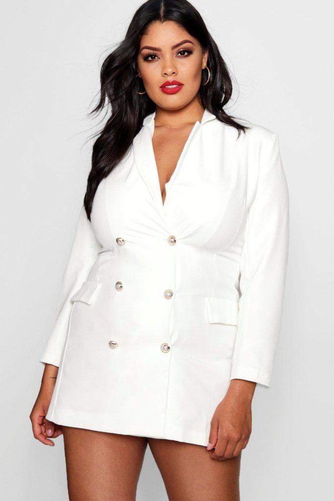 White Blazer dresses for plus size thick girls
