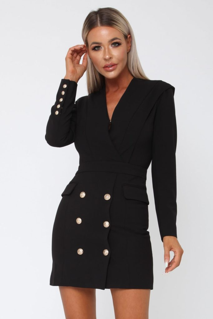 black Blazer dresses for plus size thick girls