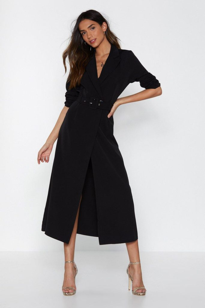 black White Blazer dresses for plus size thick girls