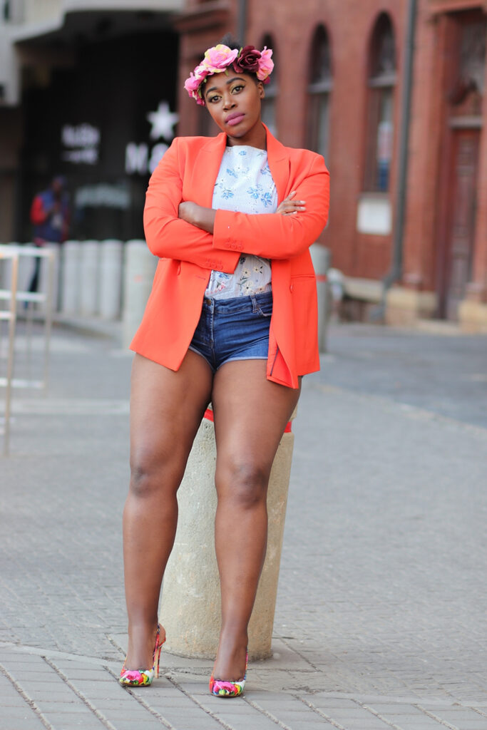 orange jacket short denim short