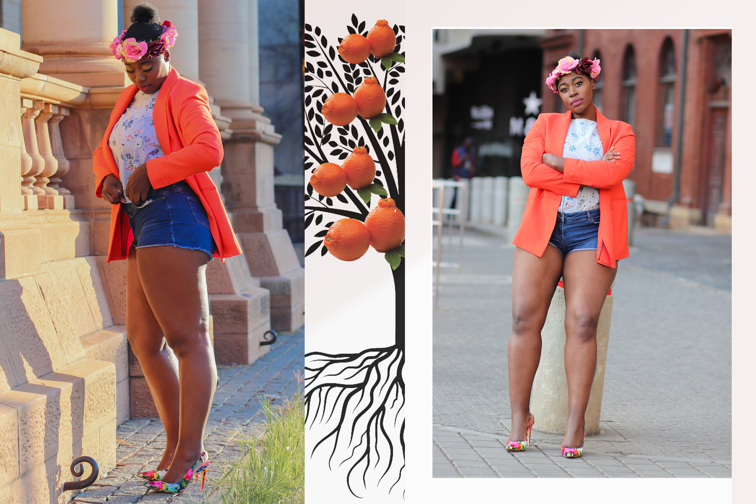 orange jacket denim shorts