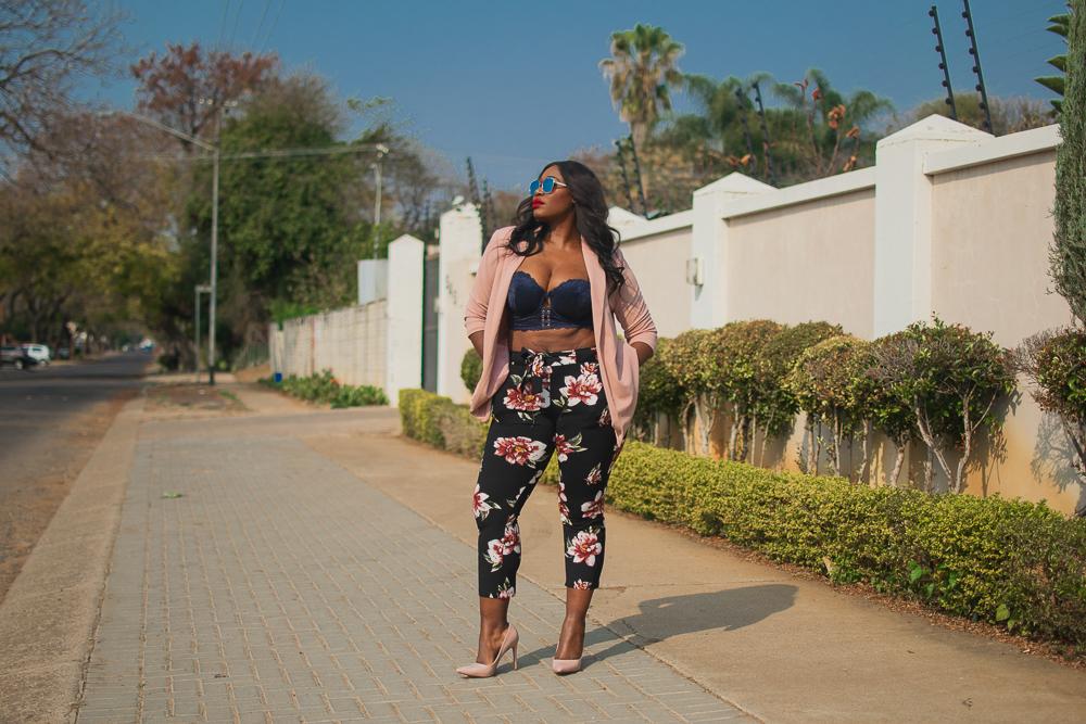 truworths bras, truworths black floral pants, truworths pink jacket