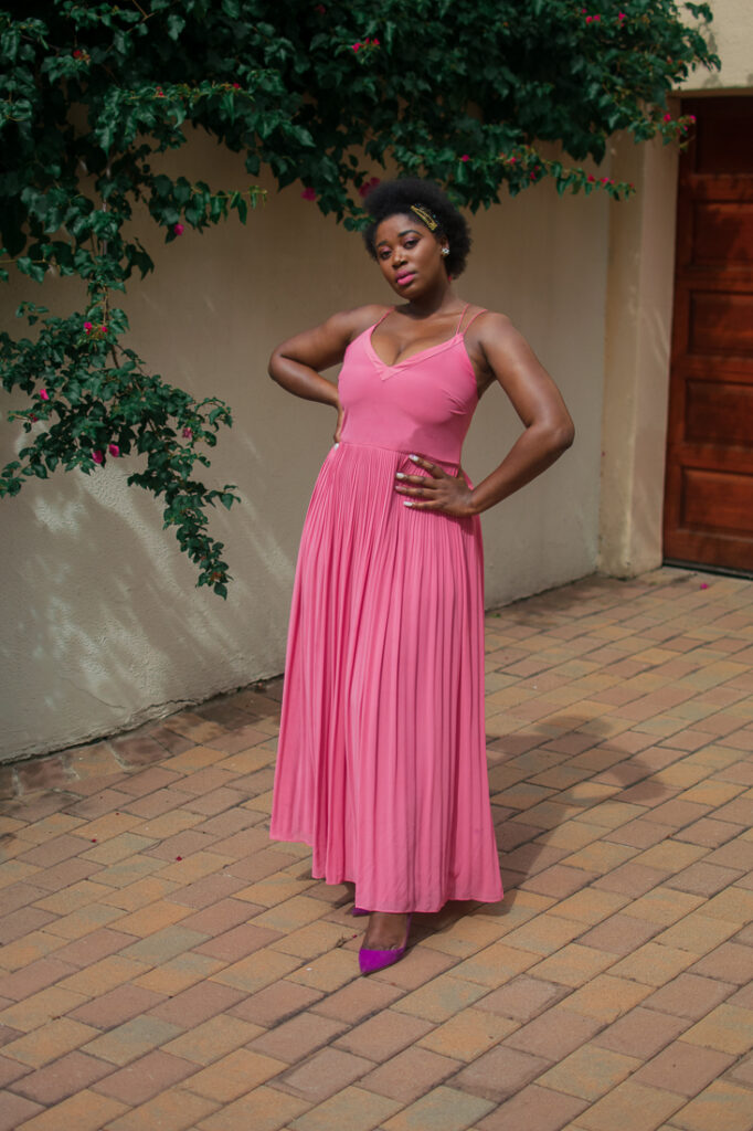 long pink dress, pleated pink maxi dress, afro, merry christmas