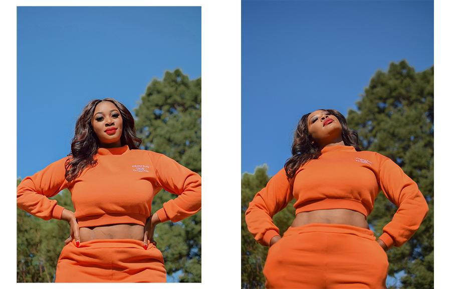 Orange sweat pants and matching top